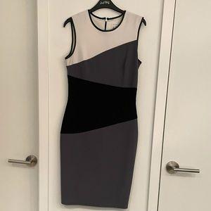 White Grey & Black Colour Block Sleeveless Shift Dress Pleather Trim size 6
